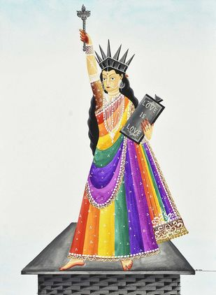 Liberty in Love by Bhaskar Chitrakar, Folk Painting, Natural colours on paper, Edward color