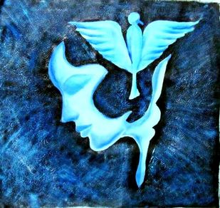 Mind by Maitry Shah, Expressionism Painting, Acrylic on Canvas, Midnight Blue color