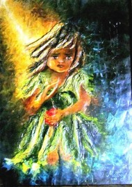 Ray of Hope by Maitry Shah, Expressionism Painting, Mixed Media on Canvas, Chenin color