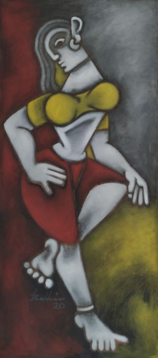The Woman 3 by Balbir Singh, Expressionism Painting, Acrylic on Canvas, Taupe color