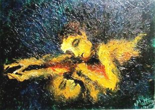 reflection by Maitry Shah, Expressionism Painting, Oil on Canvas, Tacha color