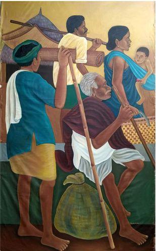 Tribal Life by Raja Rambabu, Expressionism Painting, Acrylic on Canvas, Kelp color