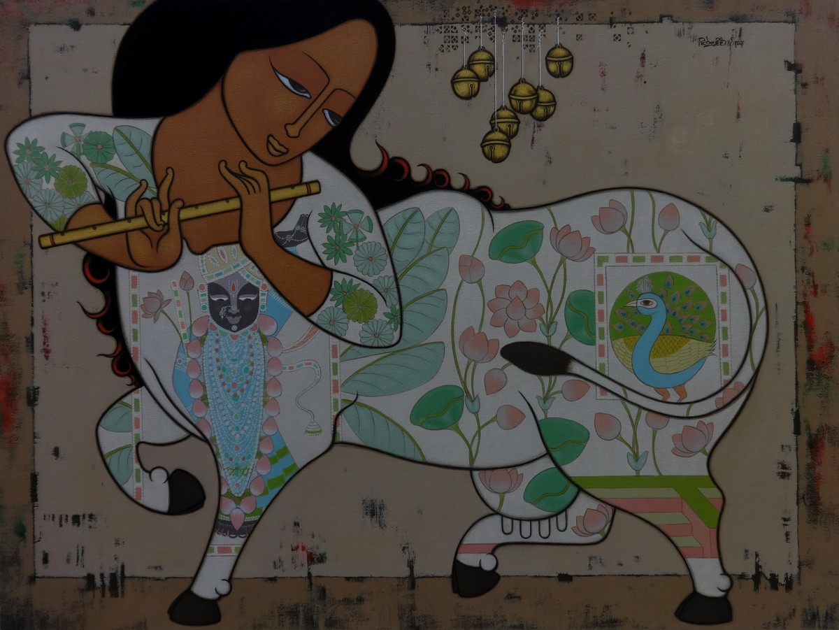 KAMADHENU : A MIRACULOUS COW - I by H S BHATI, Expressionism Painting, Acrylic on Canvas, Fuscous Gray color