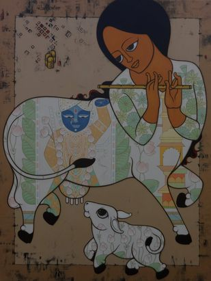 KAMADHENU : A MIRACULOUS COW - II by H S BHATI, Expressionism Painting, Acrylic on Canvas, Soya Bean color