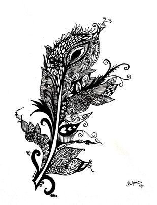 Zentangle - Peacock Feather by M R Kalpana Jyothirmayee, Illustration Drawing, Ink on Paper, Alto color