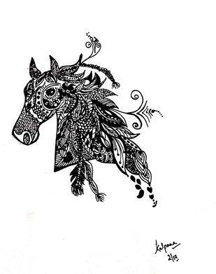 Zentangle - Horse by M R Kalpana Jyothirmayee, Illustration Drawing, Ink on Paper, Alto color