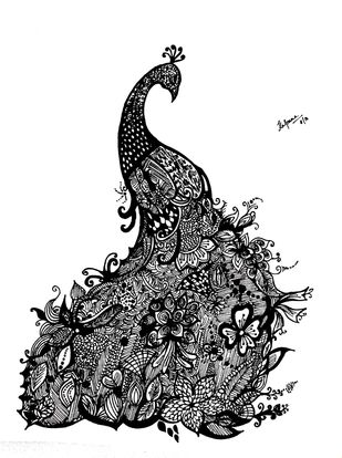 Zentangle - Peacock by M R Kalpana Jyothirmayee, Illustration Drawing, Ink on Paper, Cod Gray color