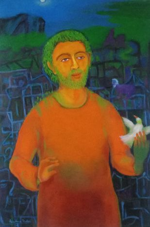 Conversation with life by Aradhna Tandon, Expressionism Painting, Acrylic on Canvas, Plantation color