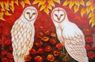 Couple in Love [Lakshmi Owls] by Anirban Seth, Traditional Painting, Acrylic on Canvas, Tall Poppy color