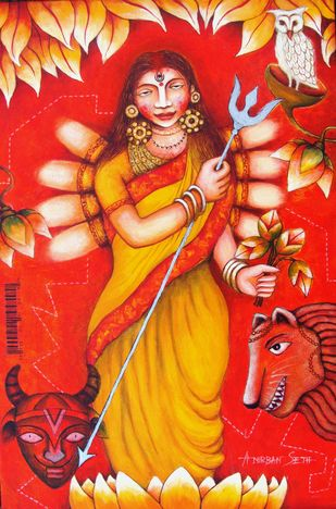 Durga Maa XIV by Anirban Seth, Traditional Painting, Acrylic on Canvas, Punch color
