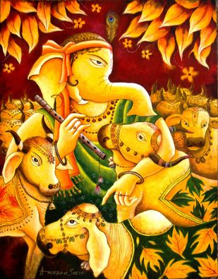 Ganesha in Krishna Mood by Anirban Seth, Traditional Painting, Acrylic on Canvas, Dixie color