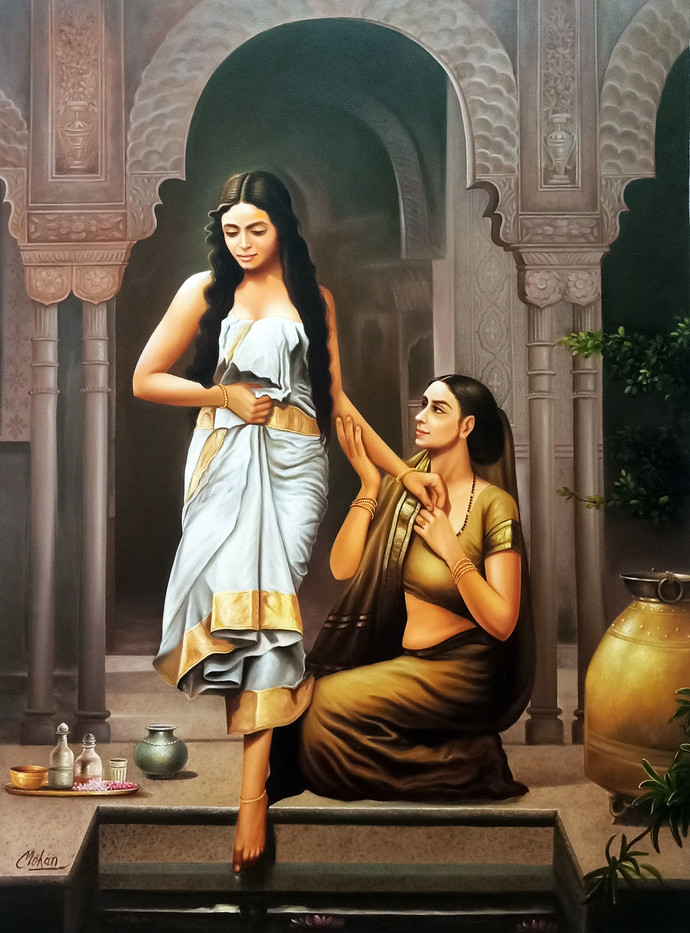 2 Lady by Mohan Mahawar, Realism Painting, Oil and acrylic on Canvas, Taupe color