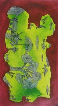 आत्मनिर्भर3 by Mohd.Rasid pathan, Conceptual Painting, Acrylic on Canvas, Spice color