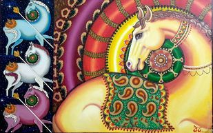 Horse King by Ved Prakash, Traditional Painting, Oil Pastel on Canvas, Leather Jacket color