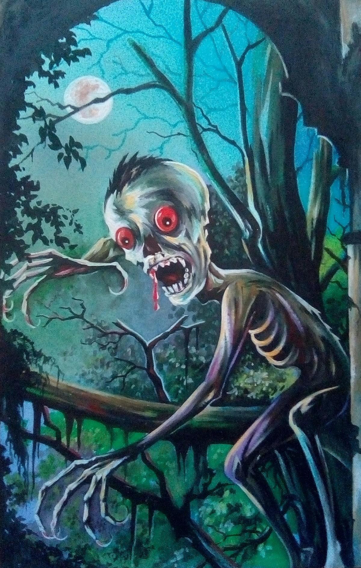Dangerous Mamdo by Subhasis Palodhi, Conceptual, Fantasy Painting, Mixed Media on Paper, Te Papa Green color