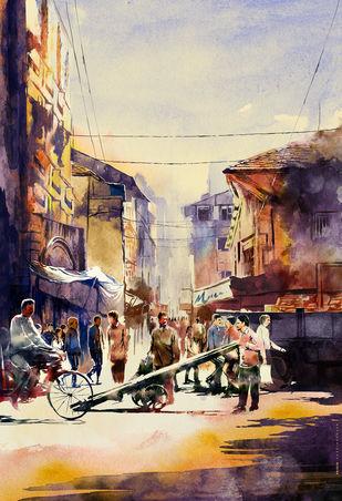 CITYSCAPE - Mumbai Streets by Rajesh Ghadigaonkar, Impressionism Digital Art, Watercolor on Paper, Akaroa color
