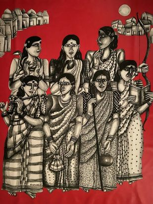 Saath Sahiliyan (Radha, Laxhmi, Durga, Sarasvati, Parvati, Ramba and Sita) Digital Print by Dhan Prasad,Expressionism