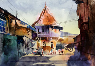 Streets of Nal Bazaar, Mumbai by Rajesh Ghadigaonkar, Impressionism Digital Art, Digital Print on Paper, Baltic Sea color