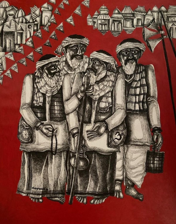 Musafir Digital Print by Dhan Prasad,Expressionism