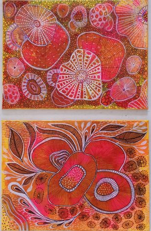 Corals ( set of two) by Anissha Deshpande, Abstract Painting, Acrylic on Canvas, Crail color