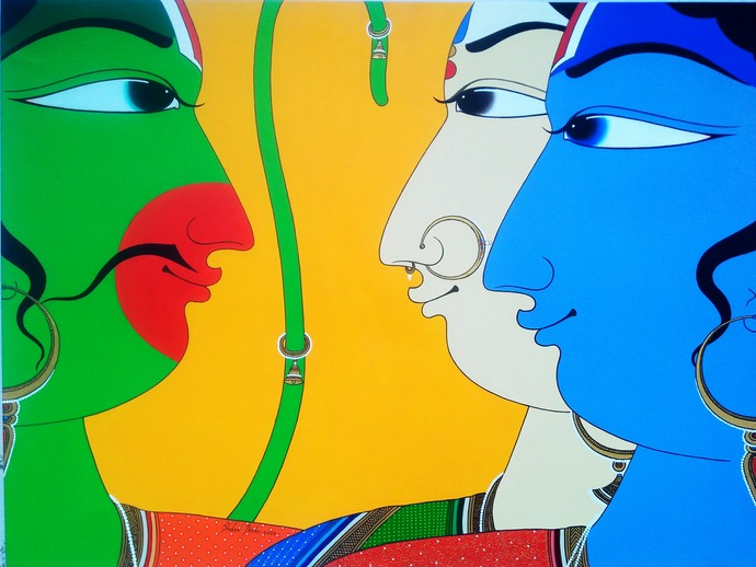 Performers by Shahed Pasha, Expressionism Painting, Acrylic on Canvas, Ronchi color
