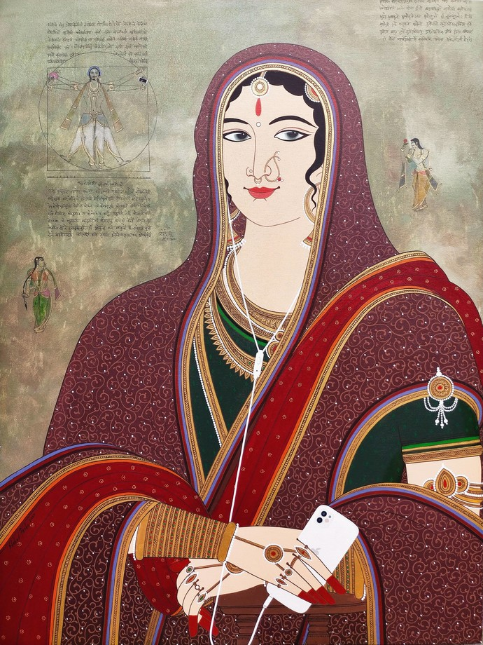 My Indian Monalisa by Shahed Pasha, Expressionism Painting, Acrylic on Canvas, Lotus color