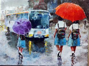 School bus by Arpita Dasgupta, Impressionism Painting, Acrylic on Canvas,