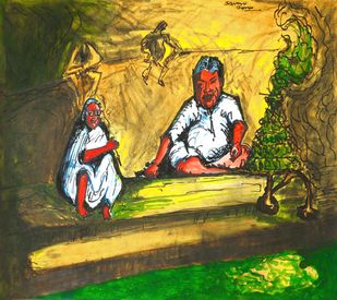 Bhakti : Faith by Saumya Chakraborty, Expressionism Painting, Acrylic & Ink on Paper, Ronchi color