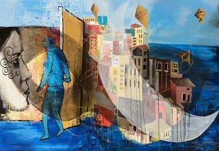 Venice Wedding by Umapathy, Abstract Painting, Acrylic on Canvas, Pickled Bluewood color