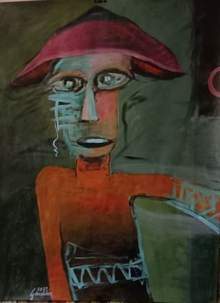 The Man with a Triangular Cap by Gautam Das, Expressionism Painting, Acrylic on Paper, Rangitoto color