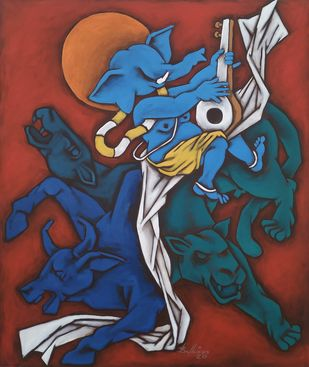 Ganesha 4 by Balbir Singh, Expressionism Painting, Acrylic on Canvas, Tundora color