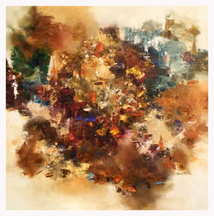 Banaras 33'-2016 by Anand Narain, Abstract Painting, Oil on Canvas, Calico color