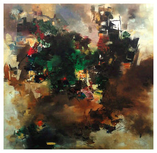 Banaras 34-2016 by Anand Narain, Abstract Painting, Oil on Canvas, Birch color