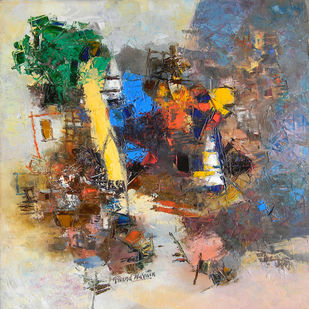 Banaras 6- 2017 by Anand Narain, Abstract Painting, Oil on Canvas, Schooner color