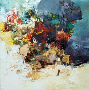 Banaras 35- 2016 by Anand Narain, Abstract Painting, Oil on Canvas, Limed Spruce color