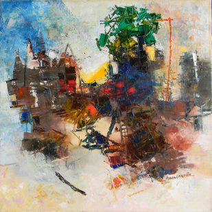 Banaras 7- 2017 by Anand Narain, Abstract Painting, Oil on Canvas, Cape Cod color