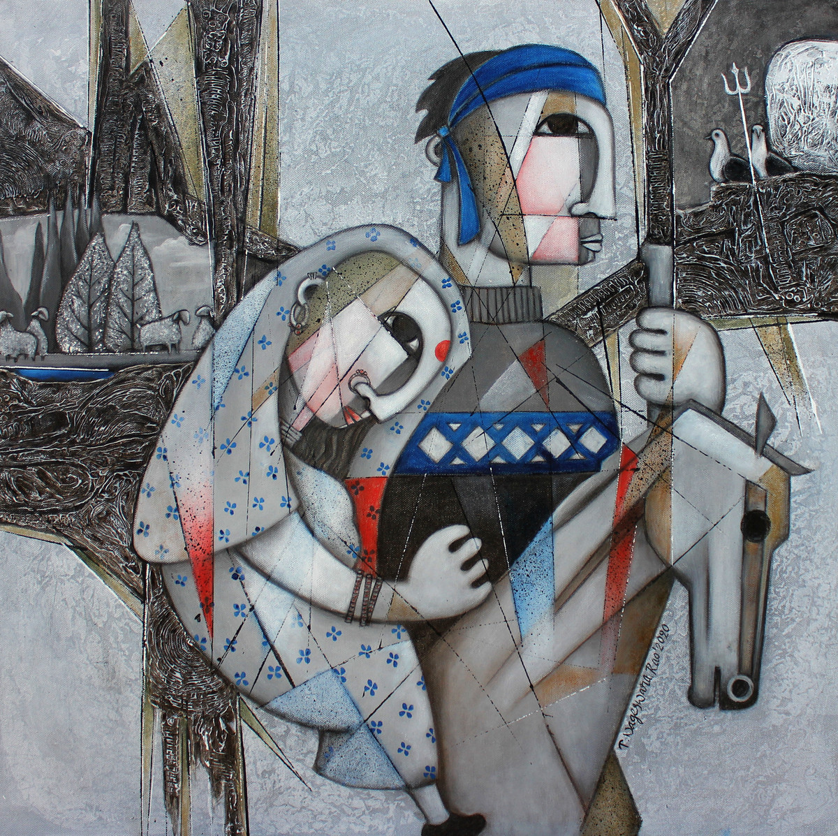 The Journey-10 by NAGESWARA RAO, Expressionism Painting, Oil on Canvas, Oslo Gray color