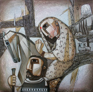 The Journey-11 by NAGESWARA RAO, Expressionism Painting, Oil on Canvas, Natural Gray color