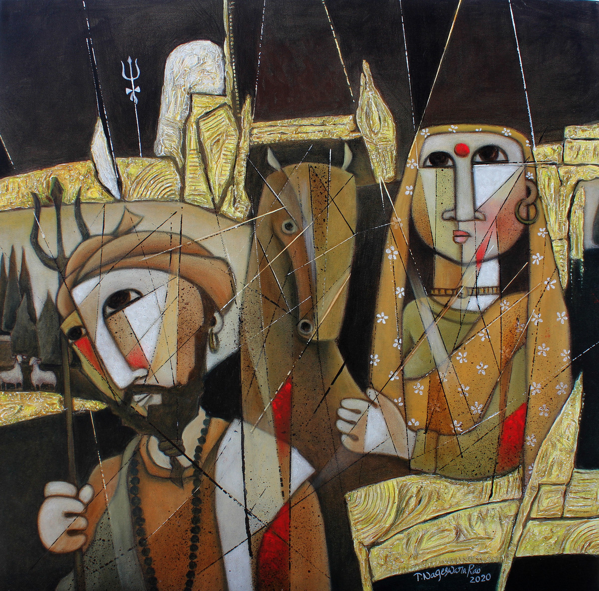 The Journey-12 by NAGESWARA RAO, Expressionism Painting, Oil on Canvas, Birch color