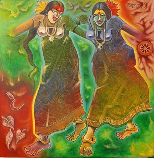 RHYTHM OF DHIMSA by Ramana Peram , Expressionism Painting, Mixed Media on Canvas, Pesto color