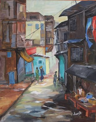 Indian Local Street by Amrita, Impressionism Painting, Acrylic on Canvas, Emperor color