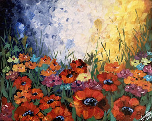 Colorful Poppies by Amrita, Expressionism Painting, Acrylic on Canvas,