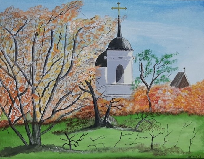 Church in Russia by Harleen Kaur Johal, Expressionism Painting, Acrylic on Board, Bitter color