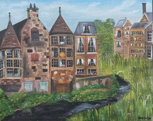 View of Dean village by Harleen Kaur Johal, Expressionism Painting, Acrylic on Board, Kokoda color