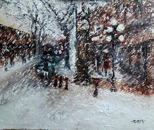 Water street (Vancouver) by Jayaraj Lakshman, Expressionism Painting, Oil on Canvas, Silver Sand color