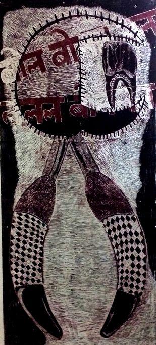 Maan Ki Baat by KOUSTAV NAG, Expressionism Printmaking, Wood Cut on Paper, Licorice color
