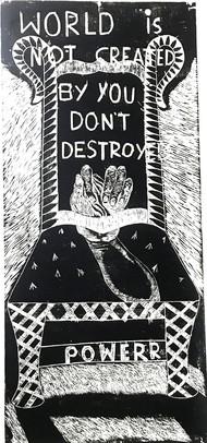 Power Error by KOUSTAV NAG, Expressionism Printmaking, Wood Cut on Paper, Onyx color