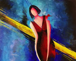 Colorful figurative woman Abstract painting Digital Print by Deepak Sundar,Expressionism