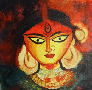 Goddess Durga by Indrani Ghosh, Expressionism Painting, Acrylic & Ink on Canvas, Tuscany color