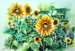 Sun kissed blooms Digital Print by Lasya Upadhyaya,Impressionism
